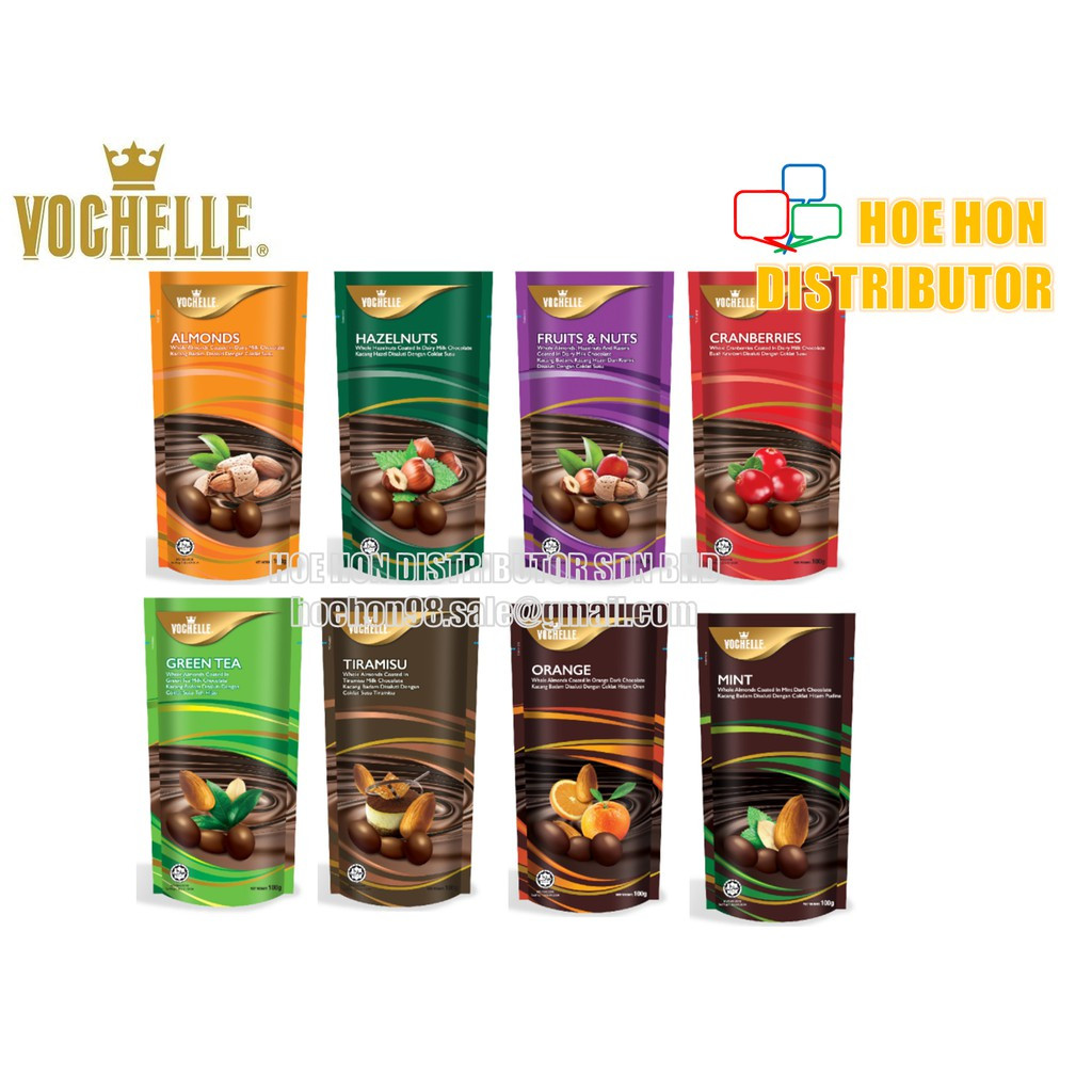 image of Vochelle Chocolate 100g Almonds Hazelnuts Tiramisu Mint Orange Green Tea Berries
