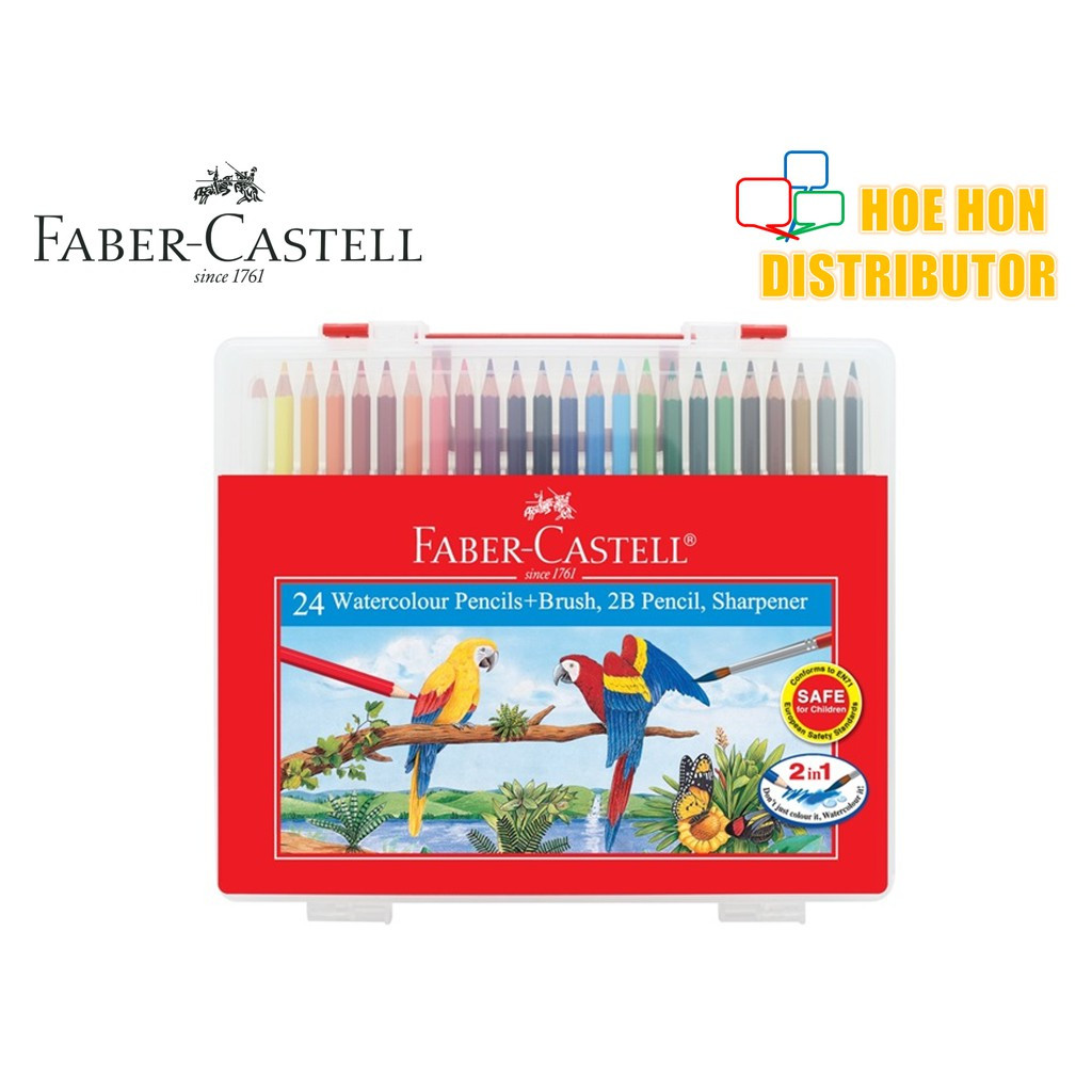 image of Faber Castell / Faber-Castell Wonder Box Water Color Colour Pencil 24 Long