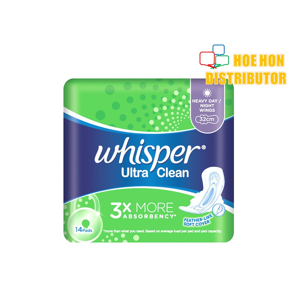 image of Whisper Ultra Clean Wings Night 32cm 14 Pads Heavy Day Sanitary Pad
