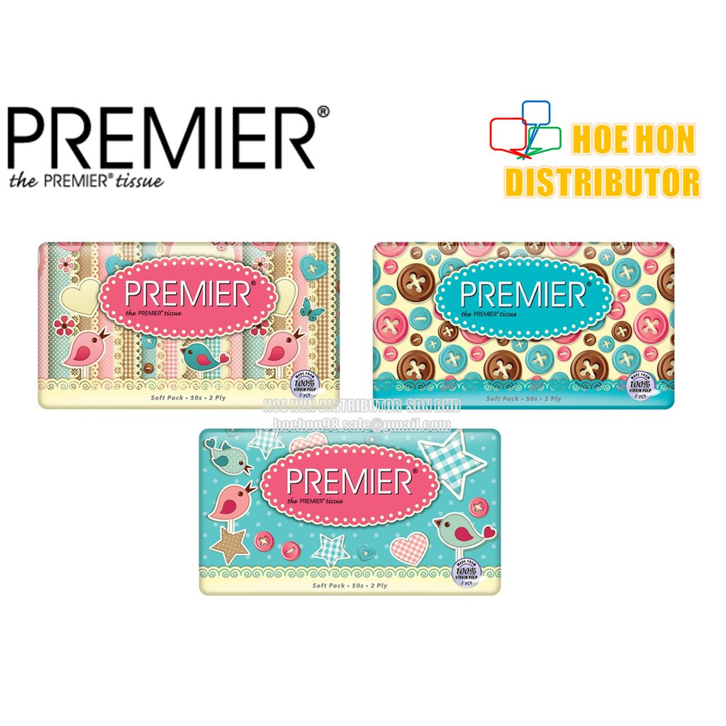image of Premier Soft Pack Tissue 2ply 50 Sheet X 3 Pack