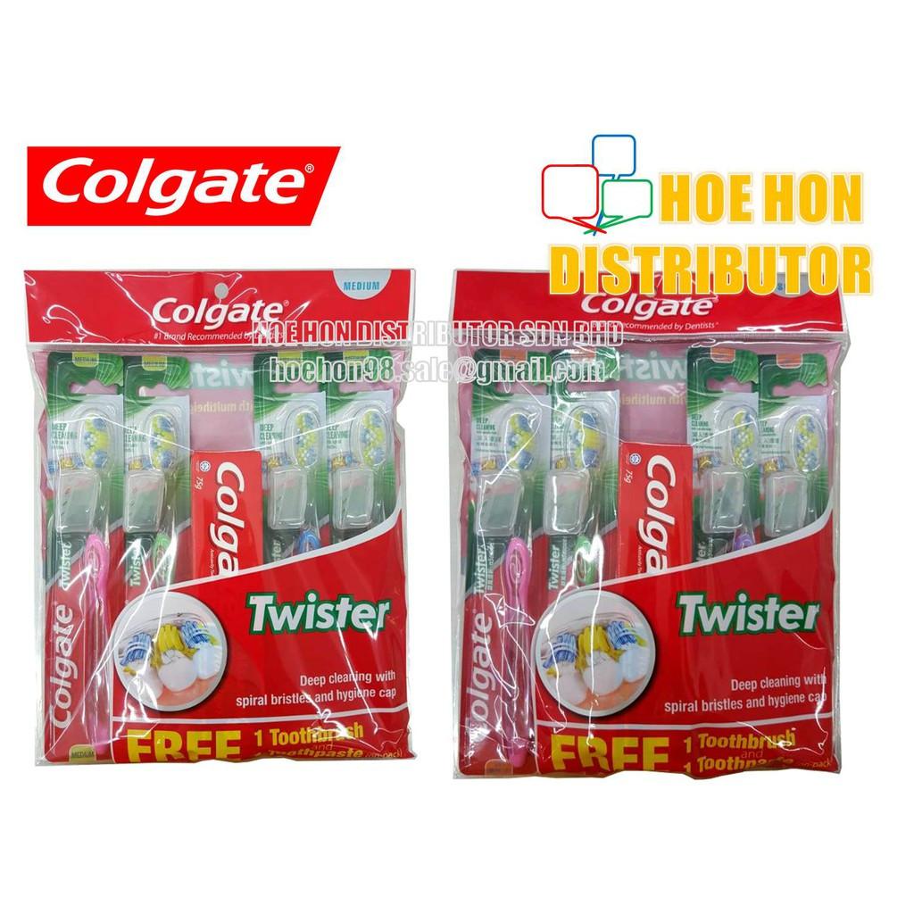 image of Colgate Twister Medium / Soft Toothbrush (Buy 3 Free 1+1) # Oral-B Toothbrush