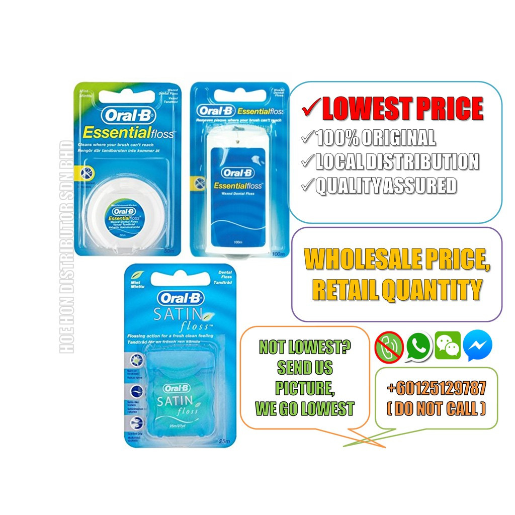 image of Oral B Essential Dental Floss 50 M, 100m / Oral B Satin Dental Floss Tape 50 M
