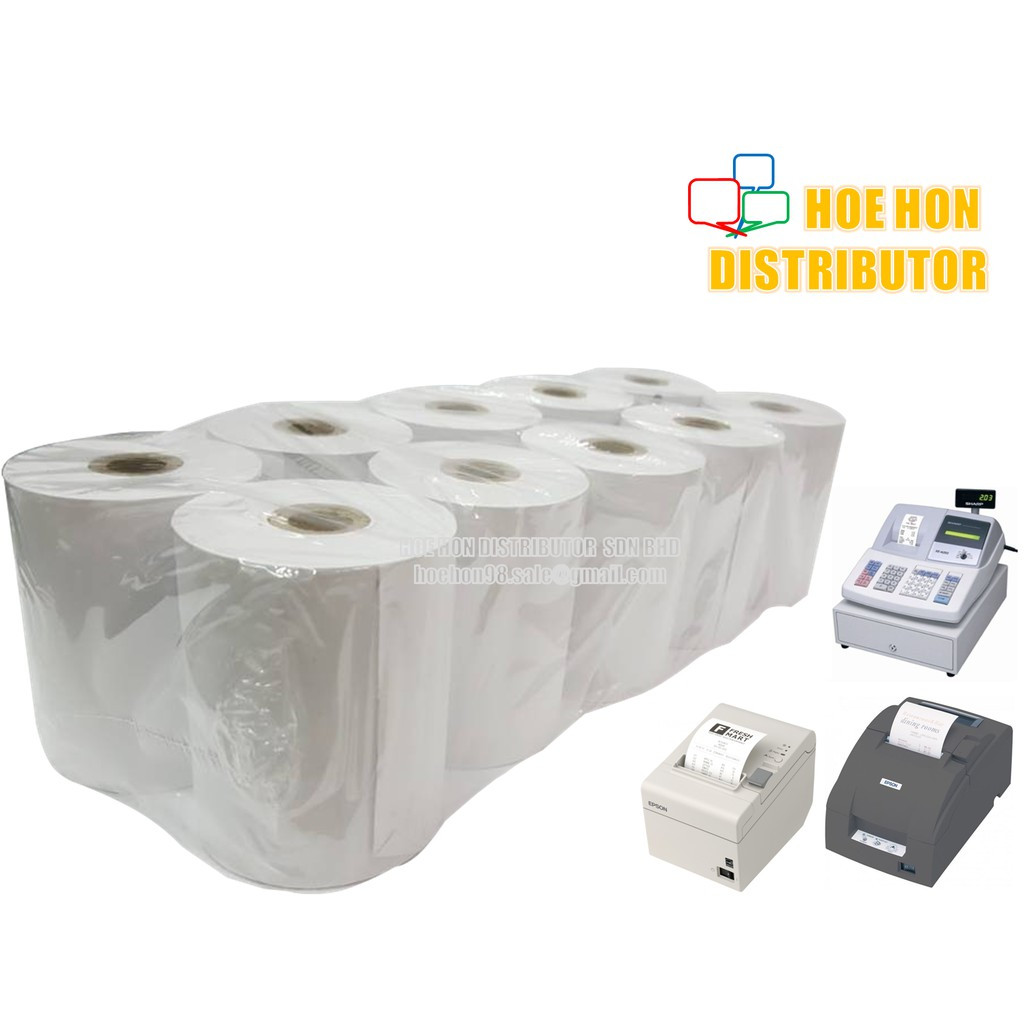 image of Cash Register Receipt Printer White Paper Roll 76mm X 60mm X 12mm 10'Rolls