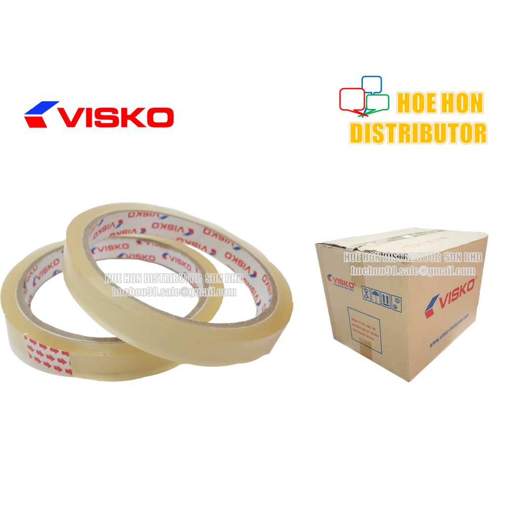 image of Visko OPP Adhesive Transparent Packaging Tape 12mm X 40 Yards / 1/2 Inch X 36m+