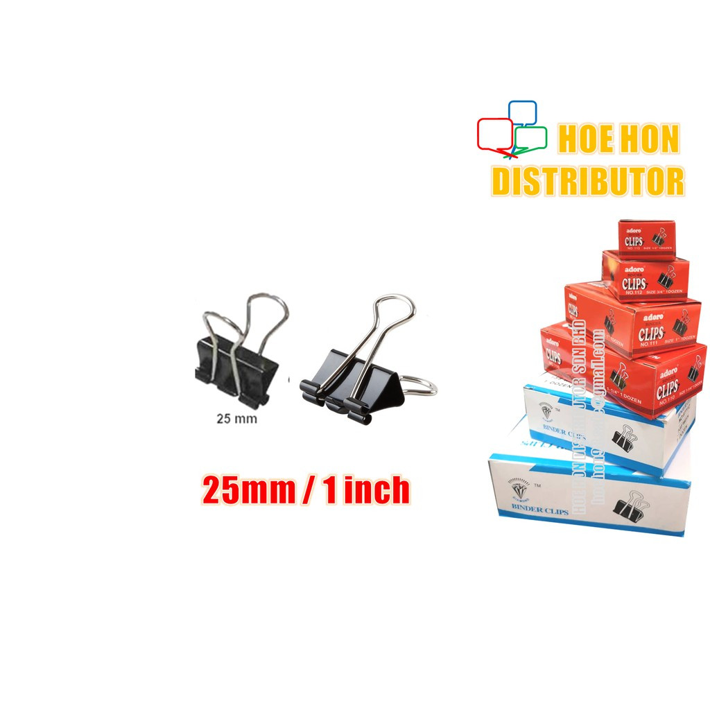 image of Multipurpose Binder Clips 25mm (1 Inch) 12pcs / Box