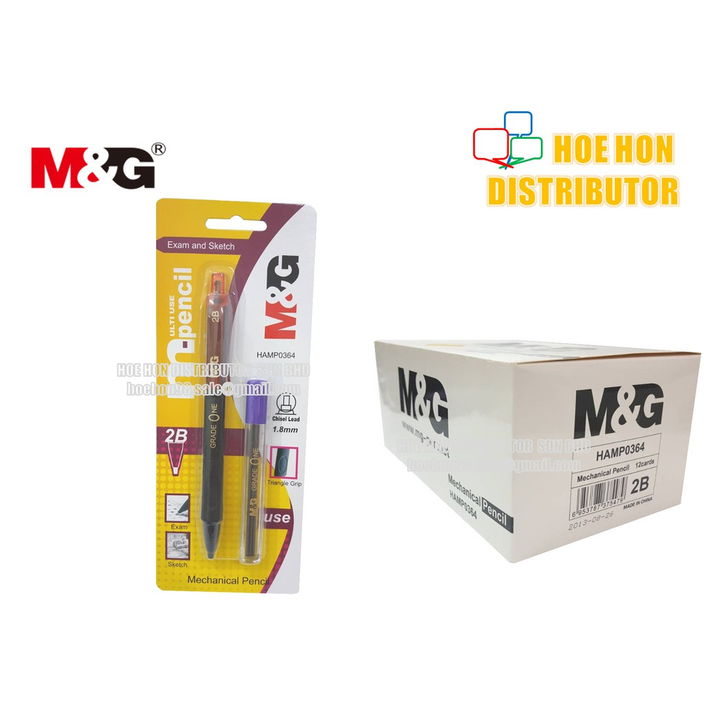 image of M&G Chisel / Jawi 2B Mechanical Pencil 1.8mm Lead / Triangle Grip HAMP0364