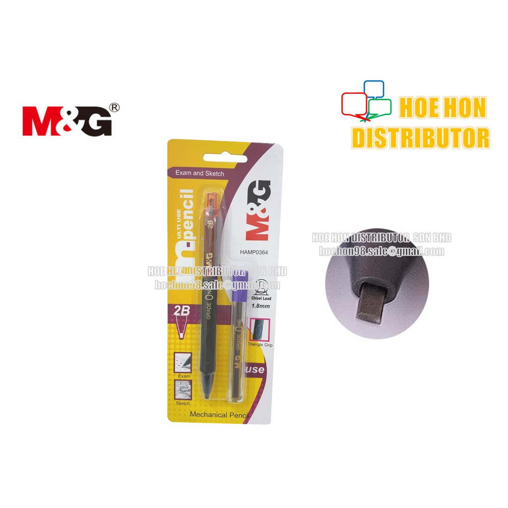 M&G Chisel / Jawi 2B Mechanical Pencil 1.8mm Lead / Triangle Grip HAMP0364