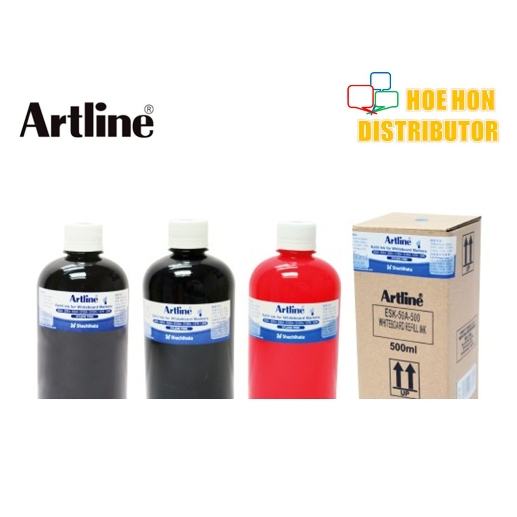 image of Artline Whiteboard Marker Refill 500A 509A Black Blue Red 500ml