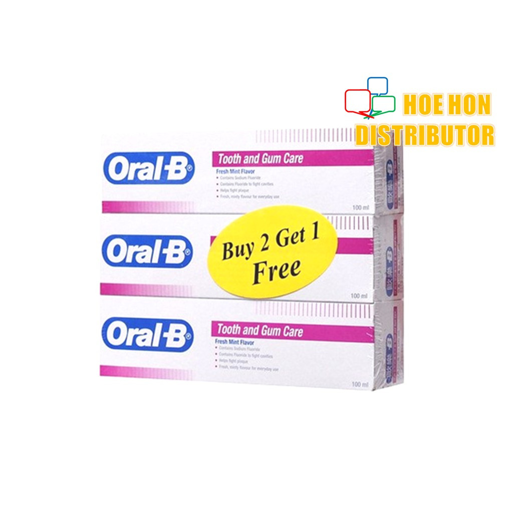 image of Oral B Tooth And Gum Care Tooth Paste 100 Ml Fresh Mint Flavor BUY 2 FREE 1