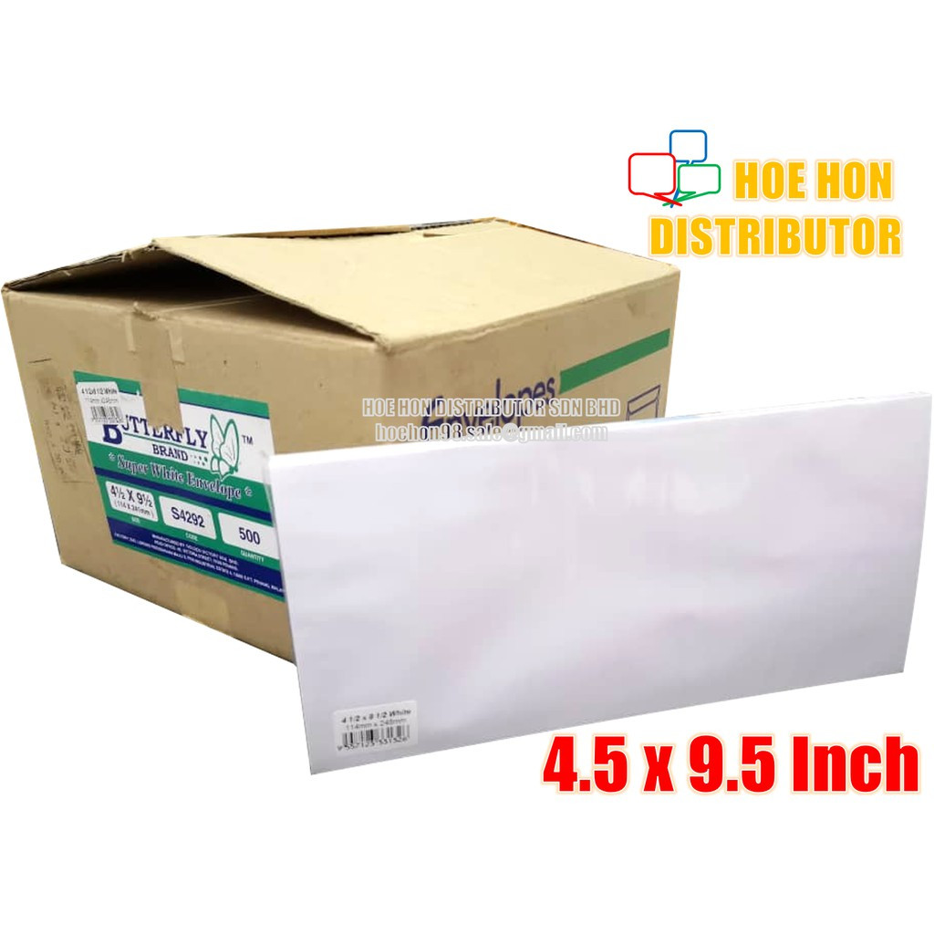 image of Long White Envelope / Sampul Surat 4.5 X 9.5 Inch / 114 X 240mm