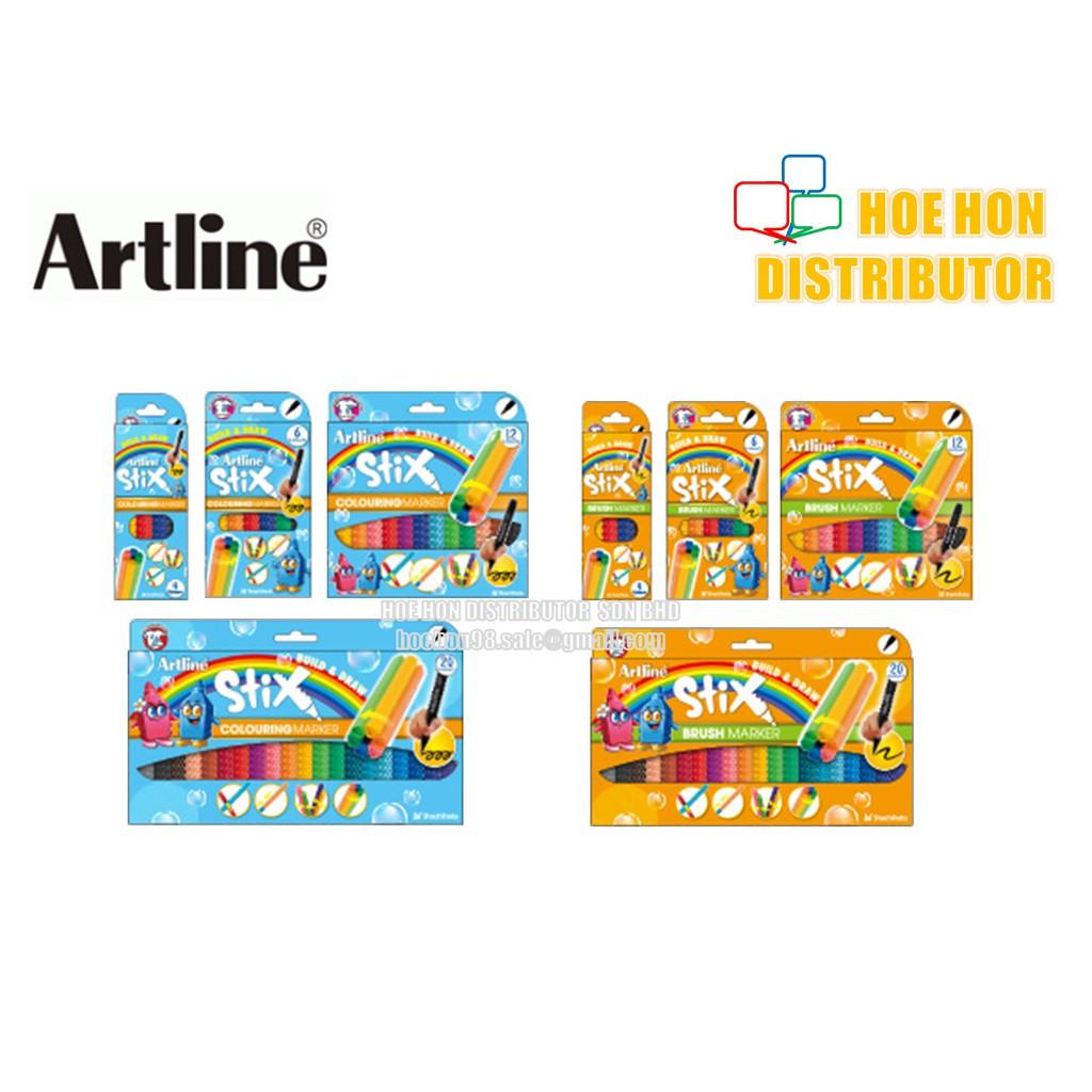 image of Artline Stix Colouring Marker / Brush Marker 4 6 12 20 (Build & Draw)