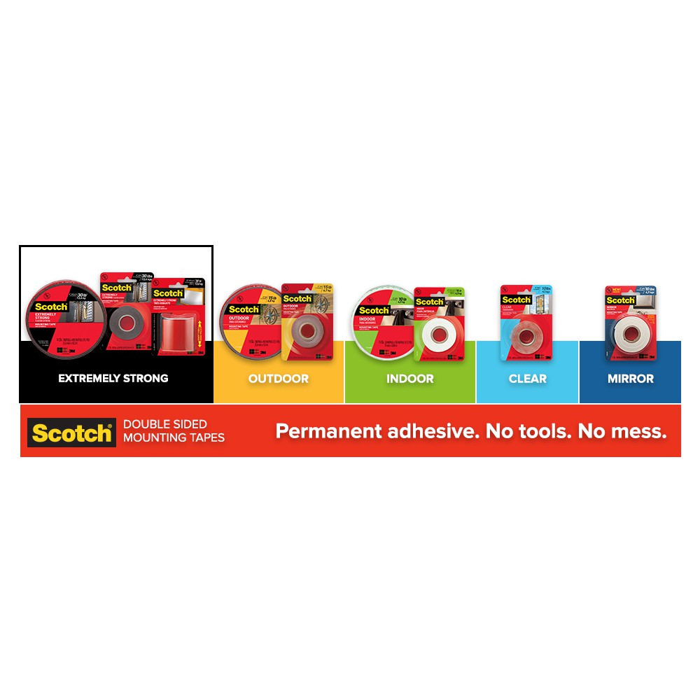 3M Scotch Clear Permanent Mounting Tape 21mm X 2m