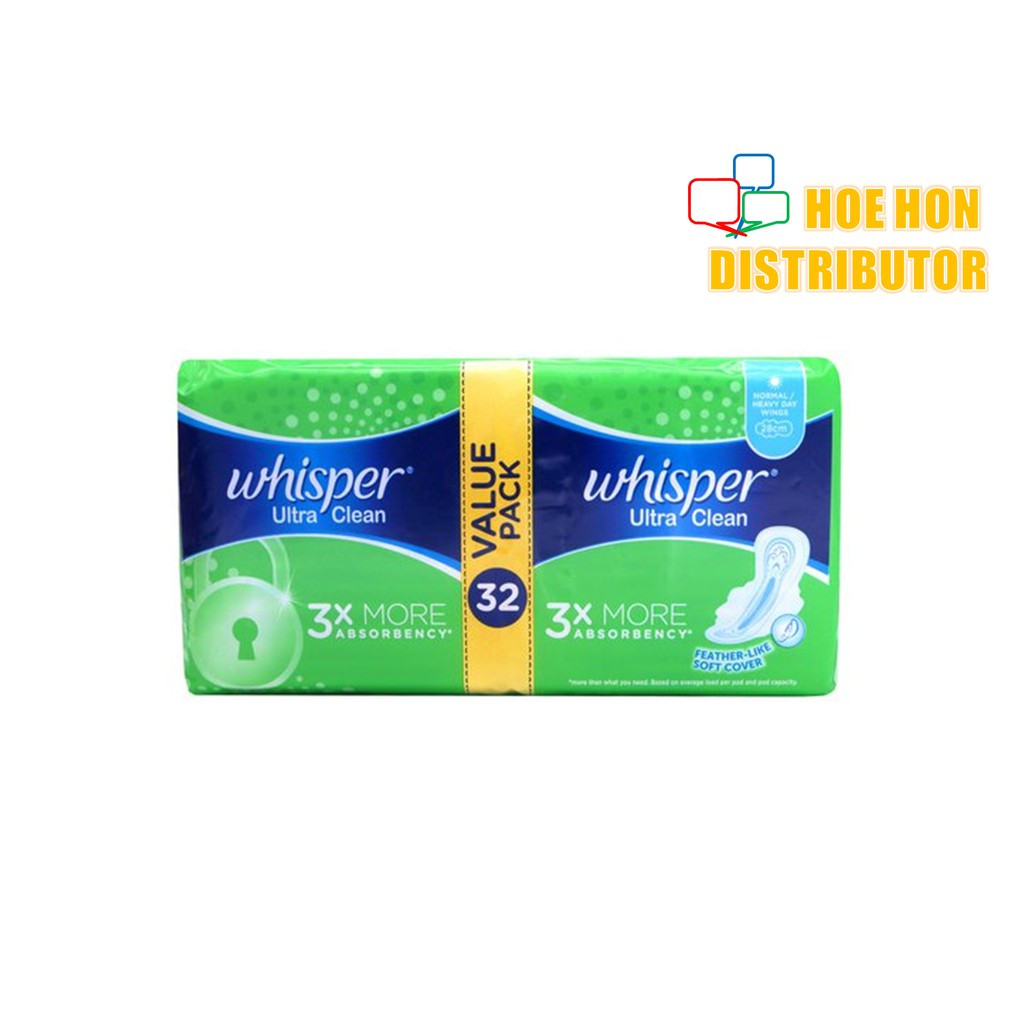 Whisper Ultra Clean Normal / Heavy Day Wings 28cm 32 Pads