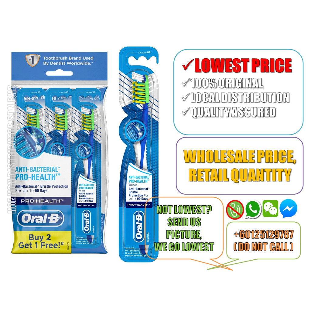 image of Premium Oral B Anti-Bacterial Pro-Health Soft Toothbrush 1 Unit (ORIGINAL)