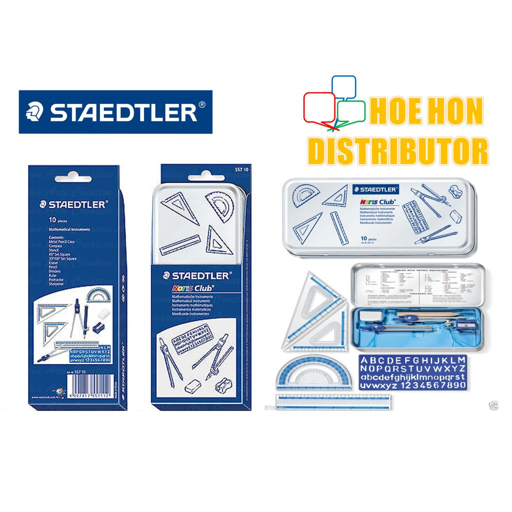 image of Staedtler Mathematical Instruments Set 10pcs, Math Set, Geometric Set 55710