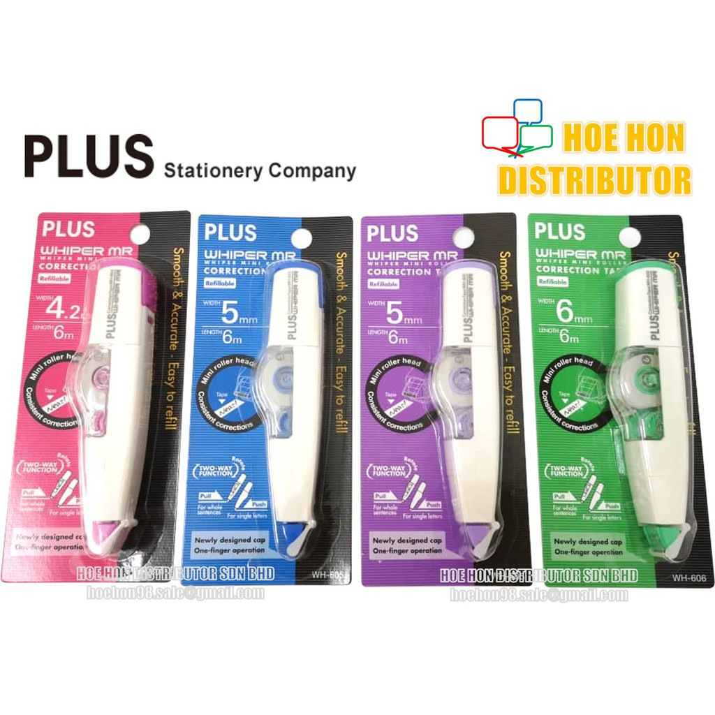 image of Plus Whiper Mr Refillable Correction Tape 4.2mm 5mm 6mm 6m WH-605