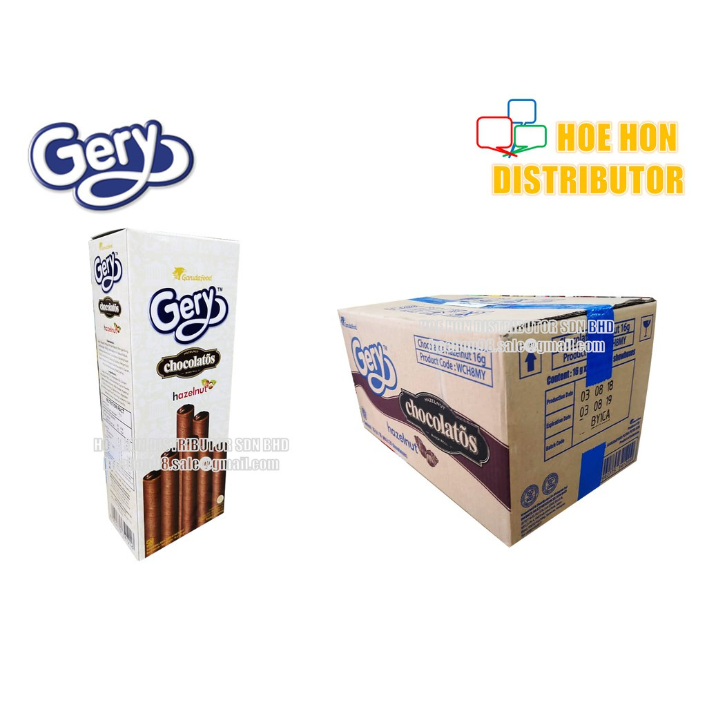 image of Gery Chocolatos Chocolate Hazelnut Wafer Roll 16g X 10 Sticks / 160g HALAL