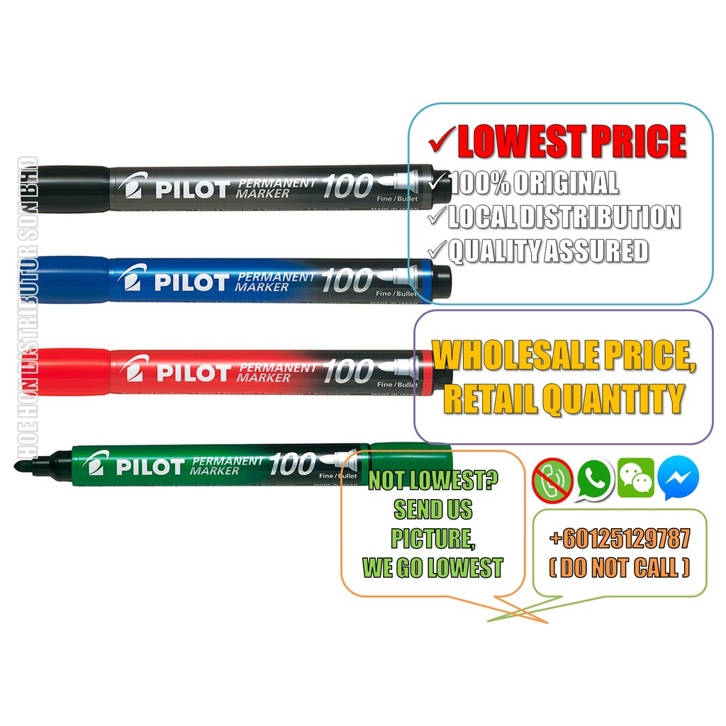 image of Pilot Permanent Marker 100 Black, Blue, Red, Green