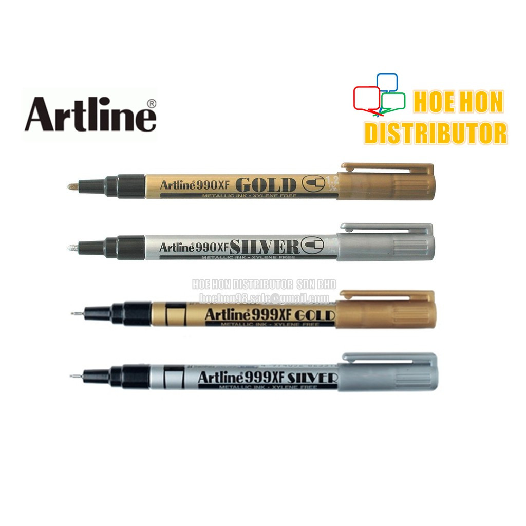 image of Artline Metallic Permanent Marker 1.2mm 0.8mm 990XF 999XF Gold / Silver