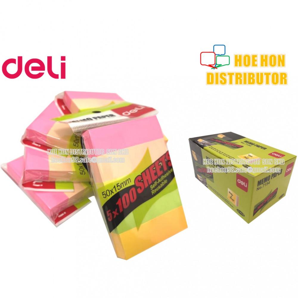 Deli Self Adhesive Memo Reusable Index Sticky / Sticker Note 50 X 15mm 7154