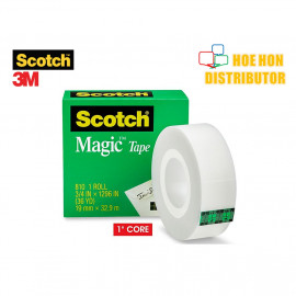 image of 3M Scotch Magic / Invisible Tape 19mm X 32.9m (3/4 Inch X 36 Yard)