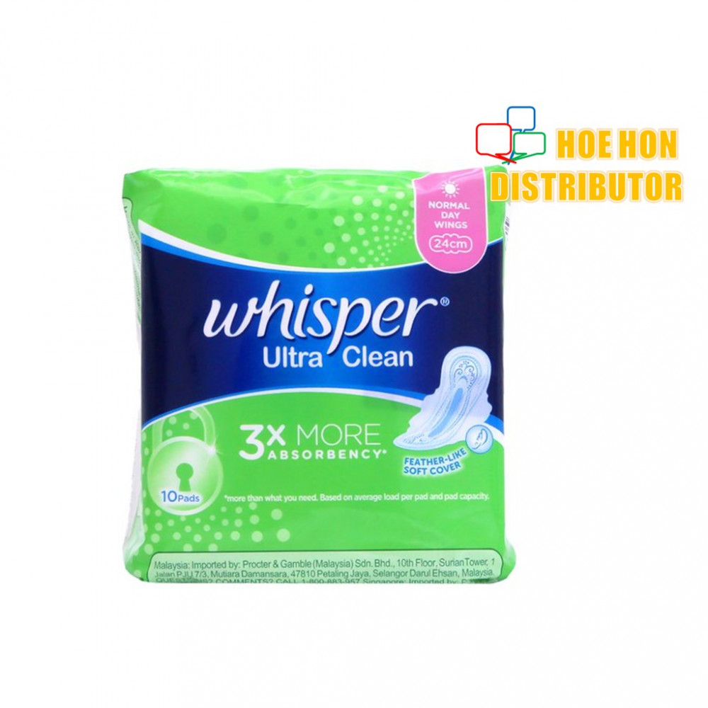 Whisper Ultra Clean Normal Day Wings 24cm 10 Pads