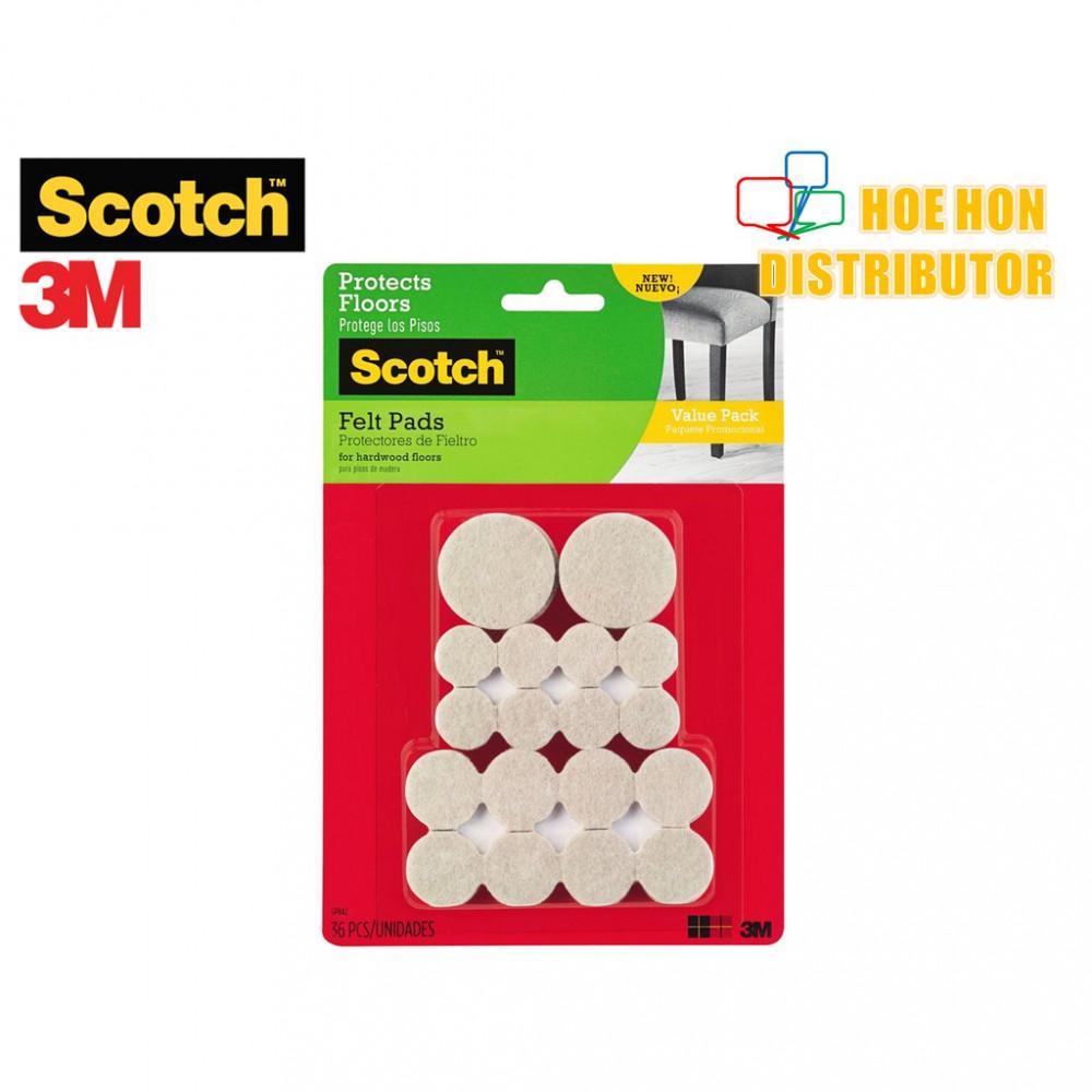 3M Scotch Felt Pads Value Pack Assorted Size 36pc SP842