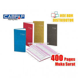 image of Campap 2 Column Hard Cover Oblong Account Book 400 Page CA 3122