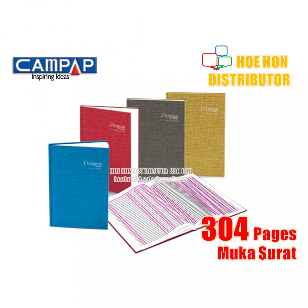 Premium By Campap 3 Column Hard Cover Foolscap Account Book F4 304 Page CA 3132