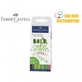 image of Faber-Castell / Faber Castell 6 Pitt Artist Pen Hand Lettering Green Tones Set