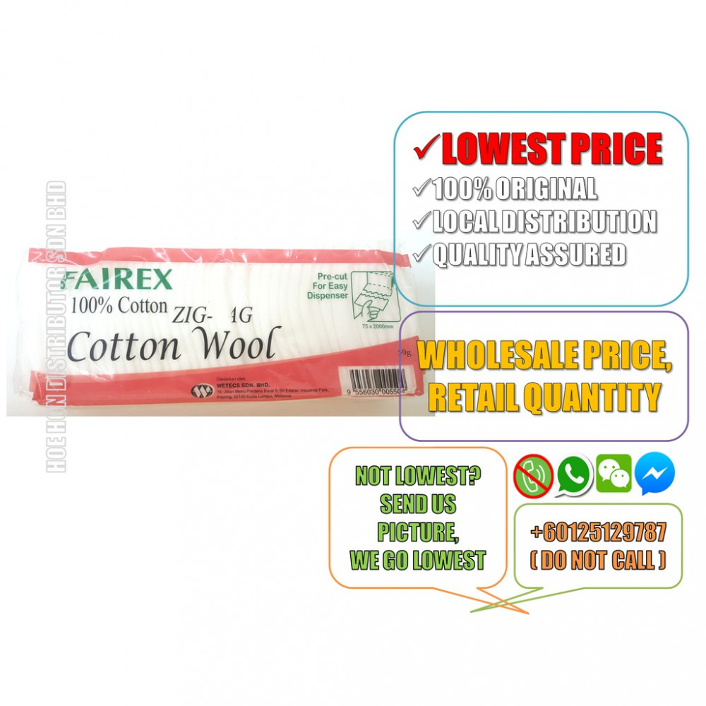 Fairex Pre Cut Cotton Wool 25G/50G (Multipurpose, Kapas) Made In
