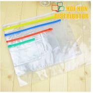 image of Multipurpose PVC Transparent File Zip Stationery Pencil Bag A3 A4 A5 A6