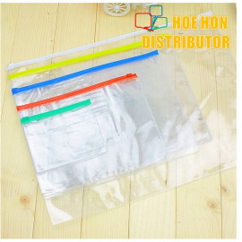 image of Multipurpose PVC Transparent File Zip Stationery Pencil Bag A3 A4 A5 A6