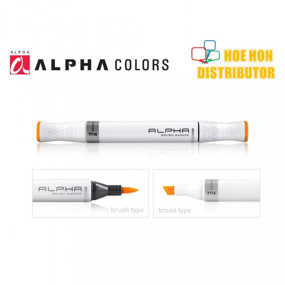 Alpha Twin Head Brush Marker (Full Customize Color)