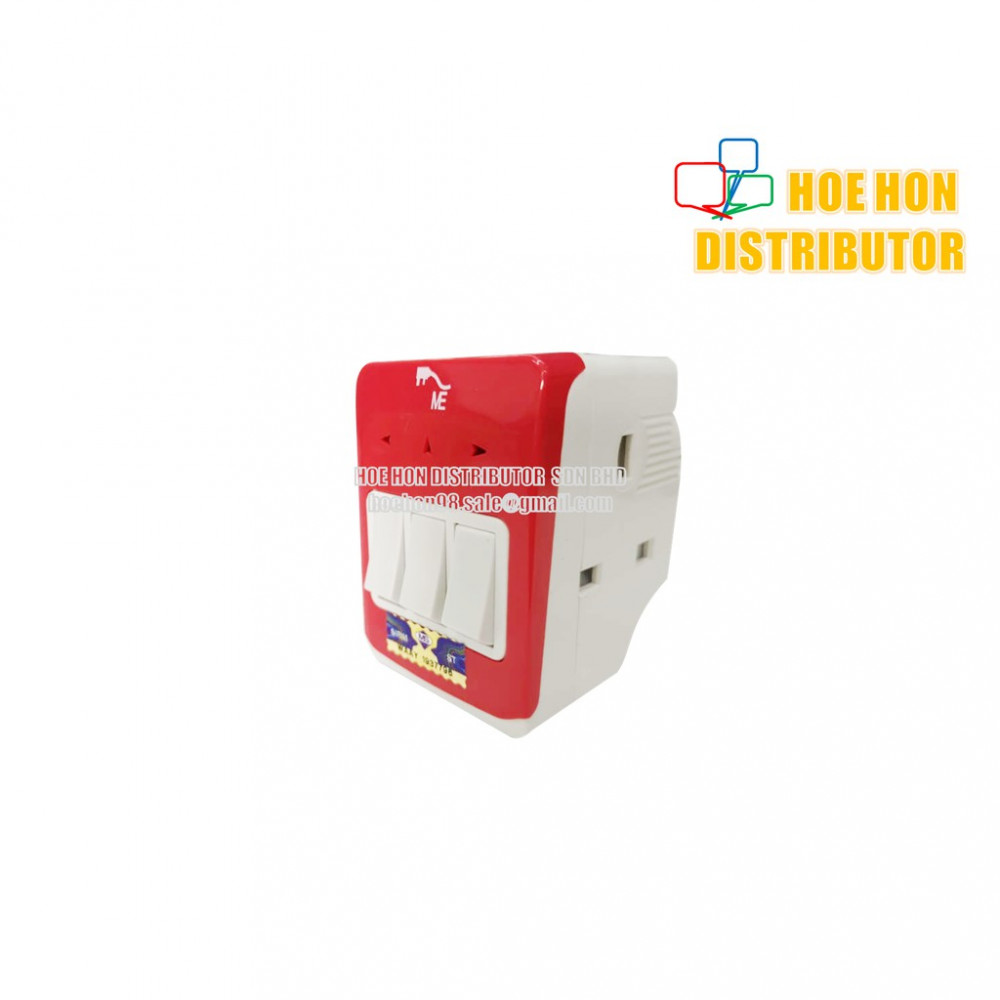ME 3 Way Multi Adapter With Switch 13AMP