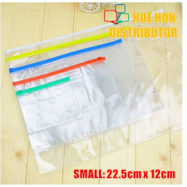 image of Multipurpose PVC Transparent File Zip Stationery Pencil Bag Small Size