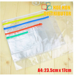image of Multipurpose PVC Transparent File Zip Stationery Pencil Bag A5