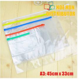 image of Multipurpose PVC Transparent File Zip Stationery Pencil Bag A3 Large