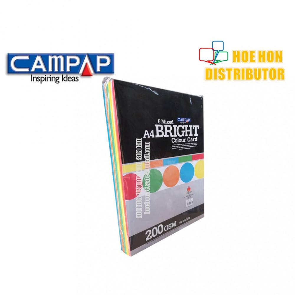 CAMPAP 5 mixed A4 Bright Colour Card / Kad Kertas Warna 200gsm 100 sheet