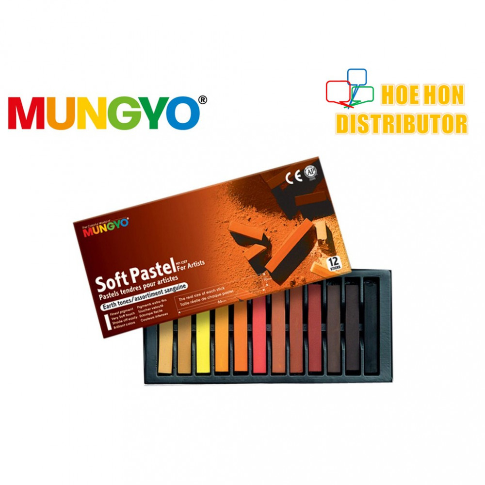 Mungyo Soft Pastel For Artist Earth Tones 12 Color (Full Length) MP-12EP