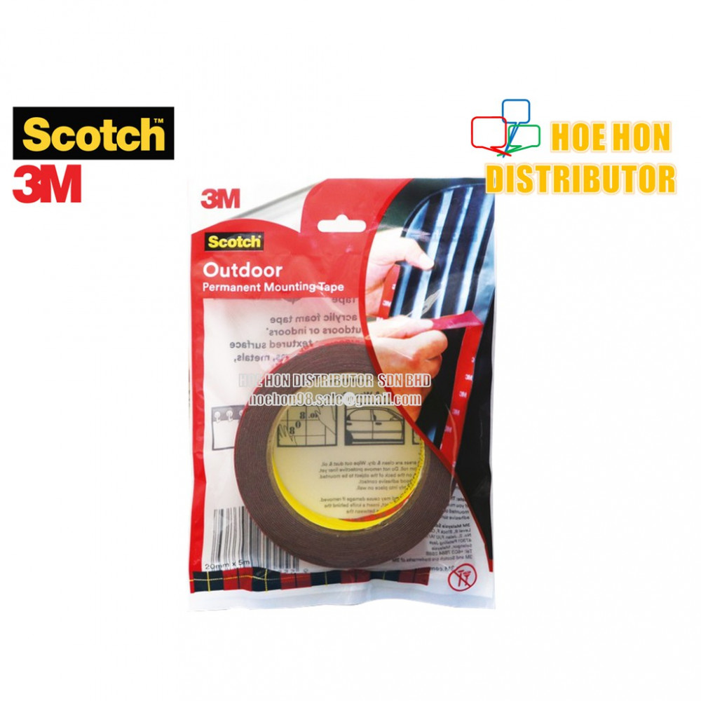 3M Scotch Outdoor Permanent Mounting Tape 20mm x 5m