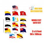Bendera Malaysia / Negeri / All State Flag 3 x 6 ft / 90 x 180 cm Whole Set