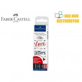 image of Faber-Castell / Faber Castell 4 Pitt Artist Pen Hand Lettering Black & Red Set