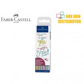 image of Faber-Castell / Faber Castell 4 Pitt Artist Pen Hand Letterring Metallic Set