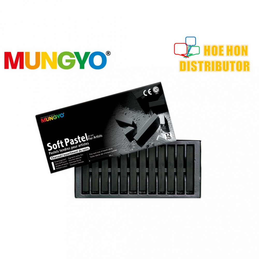 Mungyo Soft Pastel For Artist Charcoal 12 Color (Full Length) MP-12C