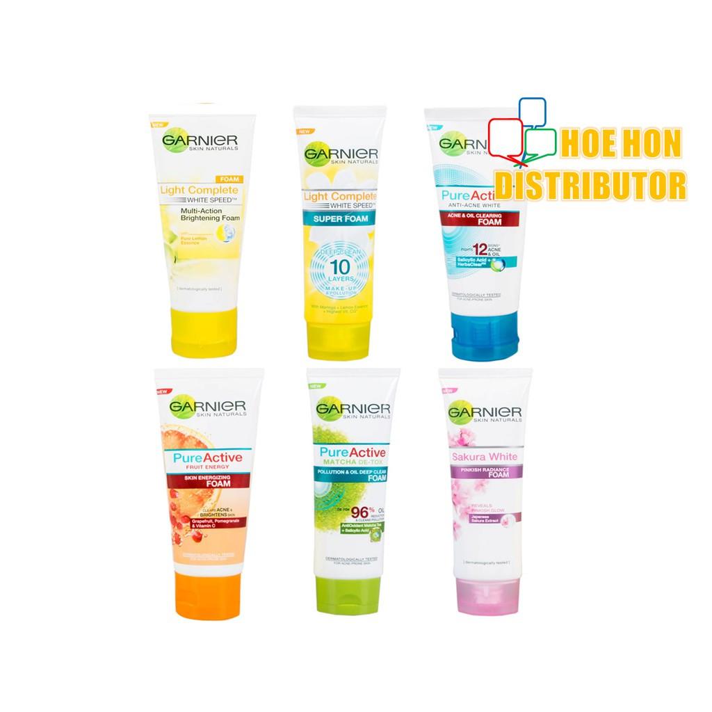 image of Garnier Light Complete / Pure Active / Sakura Facial Acne Cleanser Foam 100ml