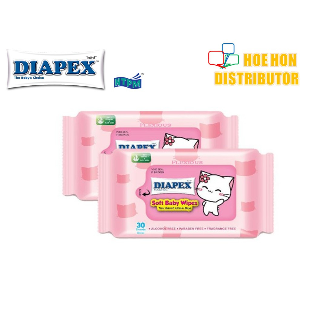 image of Diapex Soft Baby Wipe Wet Tissue / Tisu Basah Bayi 30 Sheet X 2 Pack
