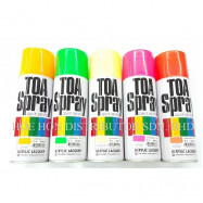 image of TOA Spray Paint Fluorescent Yellow, Orange, Red, Pink, Green