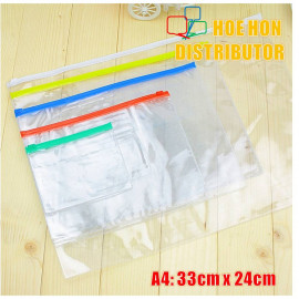 image of Multipurpose PVC Transparent File Zip Stationery Pencil Bag A4