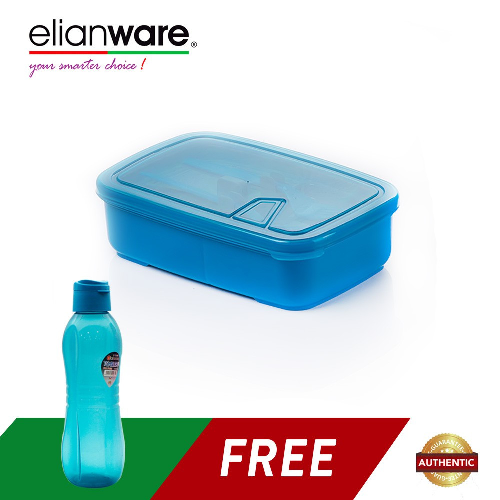 image of Elianware Convenient 1.3 Ltr Lunch Box Container with Fork & Spoon FREE 1 Ltr BPA Free Water Tumbler
